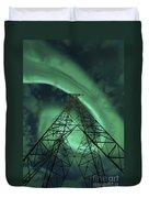 Powerlines And Aurora Borealis Duvet Cover