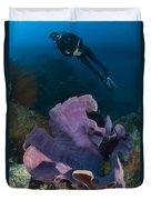 Purple Elephant Ear Sponge With Diver Duvet Cover