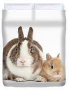 Rabbit And Baby Bunny Duvet Cover