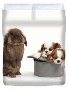 Rabbit And Spaniel Pups Duvet Cover