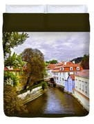 Red Roofs Of Prague Duvet Cover