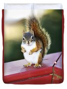 Red Squirrel On Railing Duvet Cover