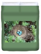Robins Nest And Cowbird Egg Duvet Cover
