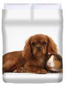 Ruby Cavalier King Charles Spaniel Pup Duvet Cover