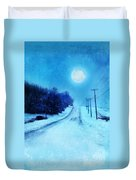 Rural Road In Winter Duvet Cover