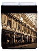 Sepia Toned Image Of Leadenhall Market London Duvet Cover