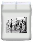 Silent Film Still: Beach Duvet Cover