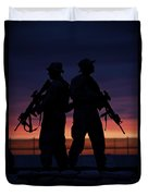 Silhouette Of U.s Marines On A Bunker Duvet Cover