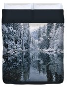 Snow-covered Trees Reflected Duvet Cover