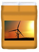 Sun Glare Upon Alberta Windfarm Duvet Cover