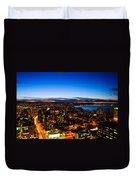 Sunset Over A City Nice Illuminated Duvet Cover