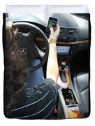 Texting And Driving Duvet Cover by Photo Researchers, Inc.