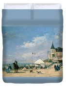 The Beach At Trouville Duvet Cover