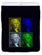 Thomas Jefferson In Quad Colors Duvet Cover