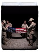U.s. Marines Fold The American Flag Duvet Cover
