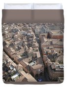 View Of Bologna From The Torre Degli Duvet Cover