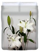 White Lily Spray Duvet Cover