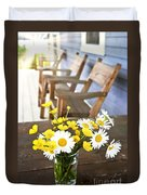 Wildflowers Bouquet At Cottage Duvet Cover