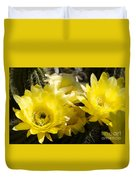 Yellow Cactus Flowers Duvet Cover