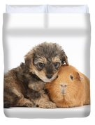 Yorkipoo Pup With Guinea Pig Duvet Cover
