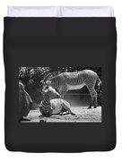 Zebras In Black And White Duvet Cover