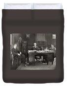 Silent Film Still: Offices Duvet Cover