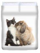Kitten And Rabbit Duvet Cover