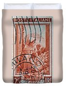 25 Lire Italian Stamp - Milano Cancelled Duvet Cover