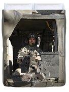 A Uh-60 Black Hawk Door Gunner Manning Duvet Cover