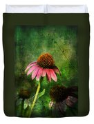 3 Amigos Echinacea Coneflower Grunge Art Duvet Cover