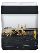 An F-14d Tomcat In Launch Position Duvet Cover
