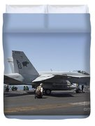 An Fa-18c Hornet During Flight Duvet Cover