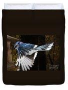 Blue Jay In Flight Duvet Cover