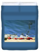 Boat Reflections At Sea Duvet Cover