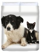 Border Collie And Tuxedo Kitten Duvet Cover