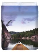Canoeing In Ontario Provincial Park Duvet Cover