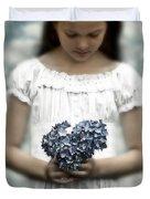 Girl With Hydrangea Duvet Cover