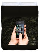 Hands Holding An Iphone Duvet Cover by Photo Researchers, Inc.