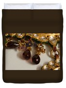 3 Hanging Semi-precious Stones Attached To A Green And Gold Necklace Duvet Cover