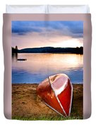 Lake Sunset With Canoe On Beach Duvet Cover