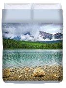 Mountain Lake In Jasper National Park Duvet Cover by Elena Elisseeva