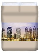 Night Scenes Of City Duvet Cover by Setsiri Silapasuwanchai