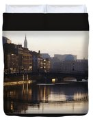 River Liffey, Dublin, Co Dublin, Ireland Duvet Cover