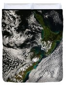 Satellite View Of New Zealand Duvet Cover
