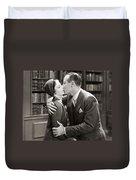 Silent Film Still: Kissing Duvet Cover