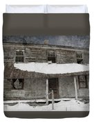 Snowy Abandoned Homestead Porch Duvet Cover