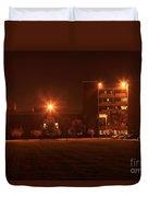 Sodium Vapor Lights On College Campus Duvet Cover