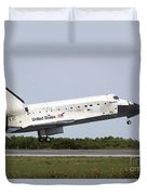 Space Shuttle Discovery Approaches Duvet Cover