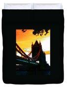 Sunset At Tower Brigde Duvet Cover