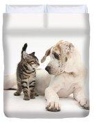 Tabby Kitten & Great Dane Pup Duvet Cover